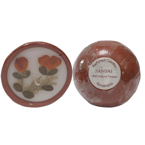 Sandal Perfumed Candle with Natural Flowers