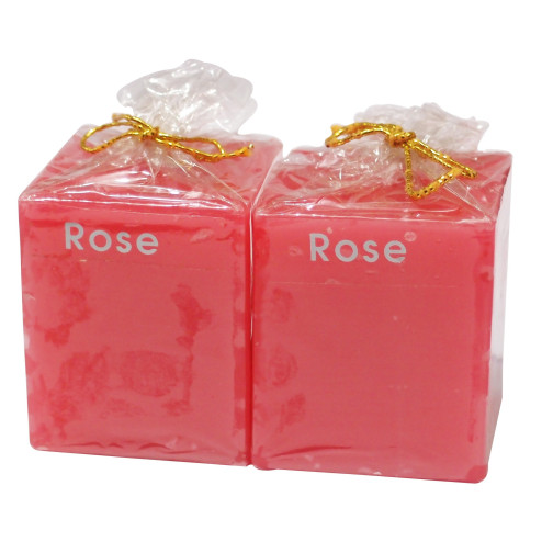 Rose Coloured Candles Perfumed (Cube)
