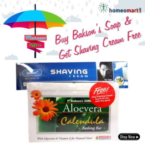 Baksons Aloevera Calendula Bathing Bar - Pack of 2 (Free - Sunny Shaving Cream)
