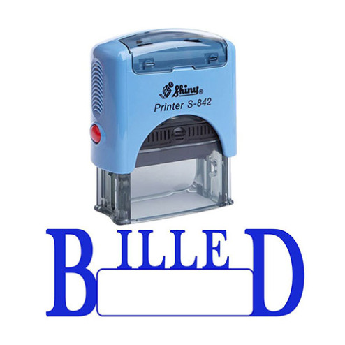 BILLED Self Inking Rubber Stamp Custom Shiny Office Stationary Stamp - Blue