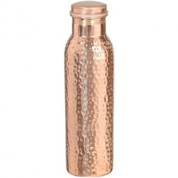 Copper Water Bottle (900ml) with Ayurvedic Health Benefits - 100% Pure Copper Vessel - Hammered Finish