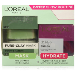 L'Oreal Paris Pure Clay Mask, Eucalyptus - 48g with Hydra Fresh Antiox Cream