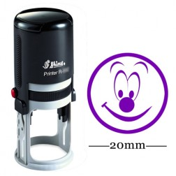 Personalized Custom Shiny 20mm Rubber Mini Stamp HAPPY SMILEY Round Self Inking Kids Teacher Stamp - Violet Ink